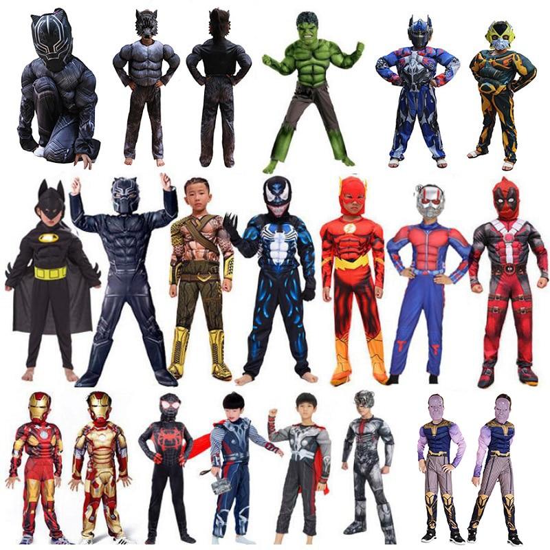 Superman Spiderman Iron Man Jumpsuits Boys Kids Cosplay Costume Deadpool Thor Panther Halloween Carnival Fancy Dress