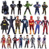 Superman spiderman homem de ferro macacões meninos crianças cosplay traje deadpool thor panther halloween carnaval fantasia vestido