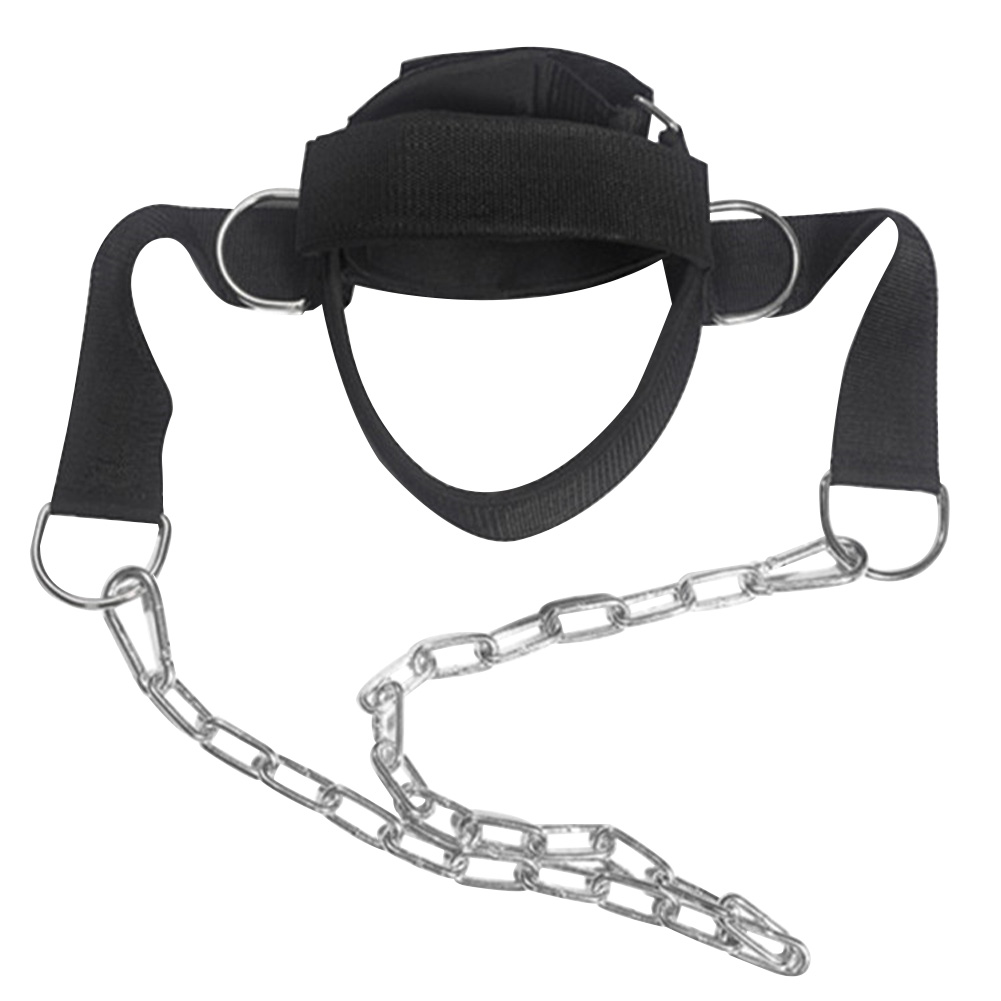 Neck Muscles Builder Chain Equipment Exercise Trainer Gym D Shackle Resilient Weight Lifting Adjustable Strength Head Harness