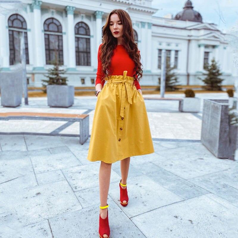 Kobiety dorywczo bawełniane spódnice 2021 wiosna lato koreański styl stałe eleganckie wysokiej talii jednorzędowe łuk zasznurować linii Midi Skir