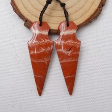 New!! Natural Stone Red River Jasper Earrings,DIY Jewerly Making, 46x16x4mm,8.3g(China)