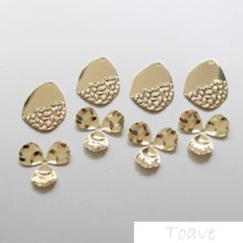 Color-protected hanging plated water drop three petals diy ear accessories material