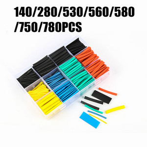 140/280/530/560/580/750/780pcs Set Polyolefin Shrinking Assorted Heat Shrink Tube Wire Cable Insulated Sleeving Tubing Set 2:1
