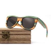 Wayfarer full - Bambou teinte verte - Noir - Coffret en bois