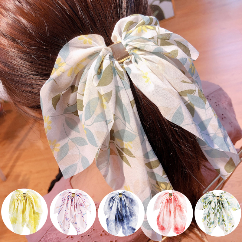 Printing Ribbon Ponytail Large Hairpin Hair Ring  Bow Streamers Hair Bands For Women Ponytail Scrunchies Hair Accessories