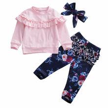 Pullover Clothing-Set Headband Floral-Pants Baby-Girls Infant Kids Unisex Fashion 0-24m