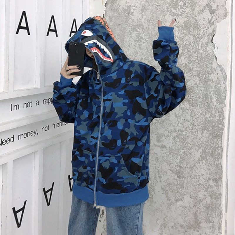 Camouflage Shark Jacket Student New Plus Size Hip Hop Hooded Jacket Men And Women Winter Lovers