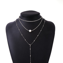купить Fashion three-layer catching chain Rhinestone Pearl Tassel Necklace Multi-layer pendant long necklace Bohemian jewelry дешево