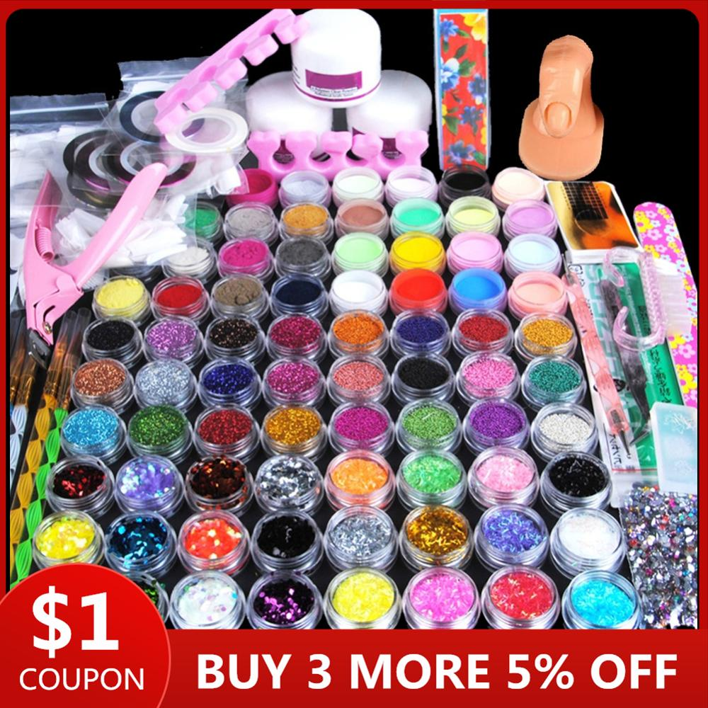 78pcs Nail Acrylic Powder Glitter Manicure Set For Nail Art Kit Gems Decoration Crystal Rhinestone Brush Tools Kit For Manicure