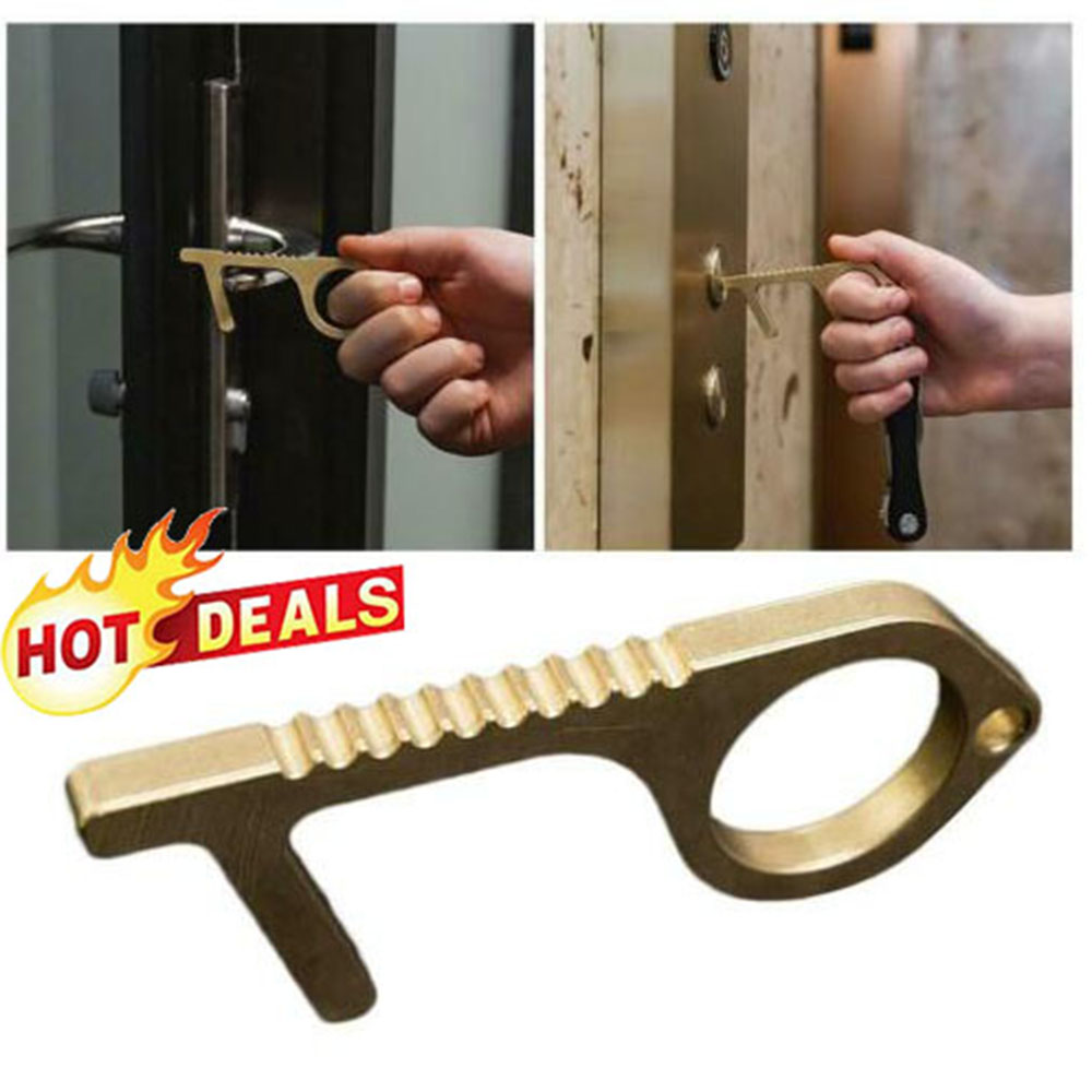 Contactless Safety Door Opener Safety Protection NO Touch Brass Key Opener Kits