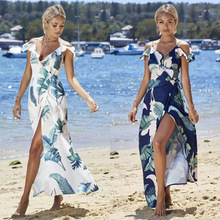 Summer Spaghetti Strap Long Maxi Dress Women Elegant Holiday Floral Printing Wrap