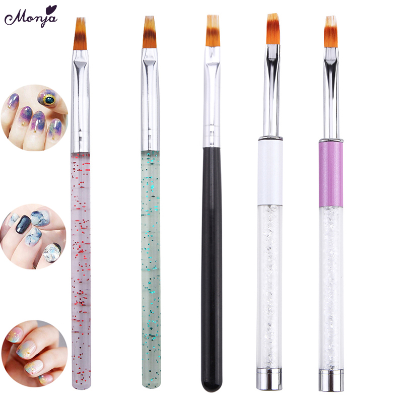Monja 5 Styles Nail Art Color Gradient Change Blooming Transfer Stamping Painting Brush French Drawing Pen Manicure Tool