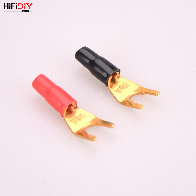 HIFIDIY LIVE 2PCS/Set Y Pure Copper Gold Plated U Banana Plug Connector For Audio Video Speaker Adapter Terminal Connectors Kit