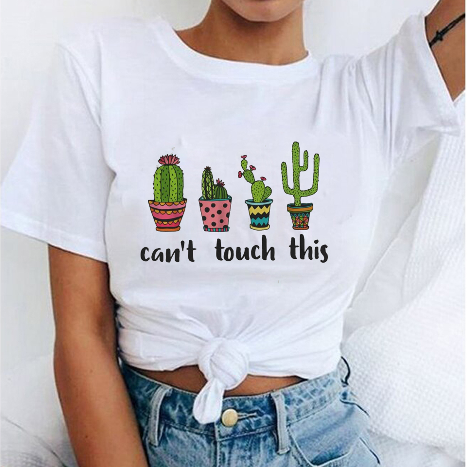 Top SaleFemale Shirt Top-Tees Cactus Summer Tops Harajuku Funny Pug Femme Can't This Touch Lady