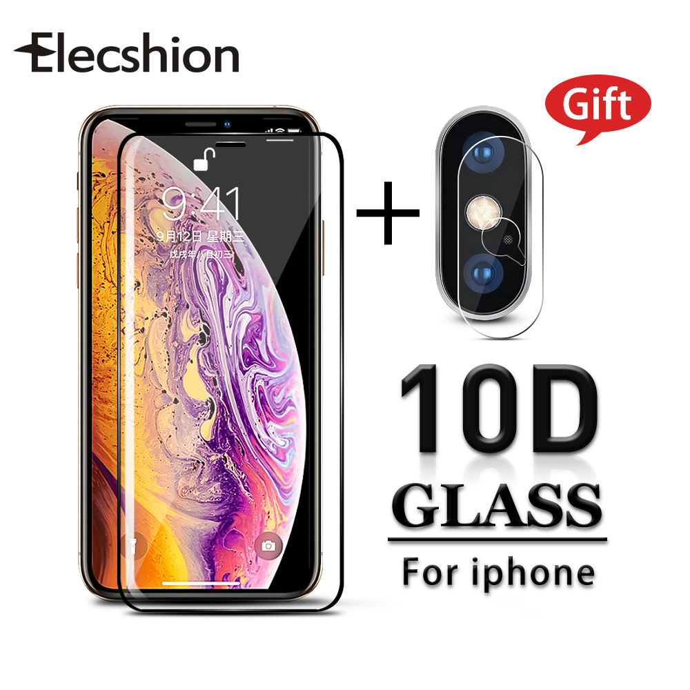 For IPhone X 7 6 6S 8 Plus XR XS XSmax Cell Phone Screen Protector Tempered Glass Full Curved Camera Lens Screen Film Protective