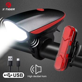 X-TIGER Bike Horn Light Bicycle Lights USB Charging Bike Light Cycling Rainproof LED Headlight With 130dB Electric Horn Bell