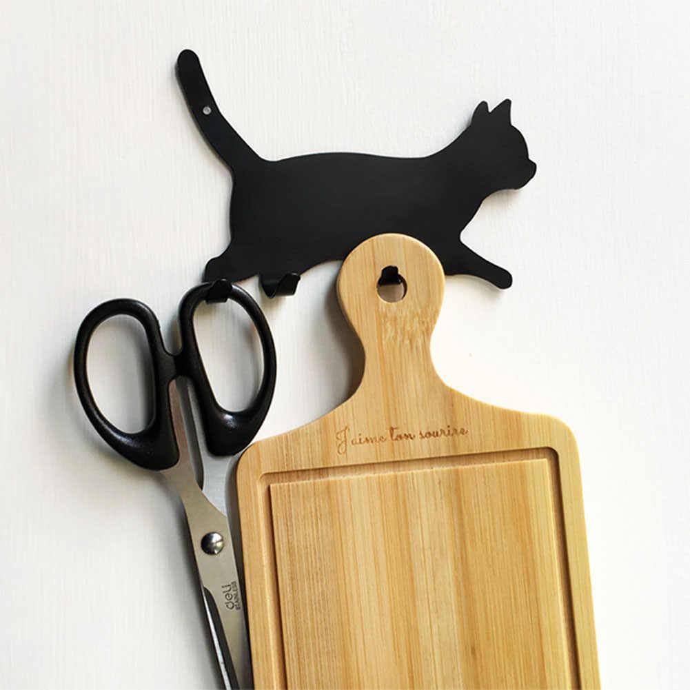 Cute Home Kitchen Metal Cat-Shaped Back Adhesive Traceless Wall Hook Keys Hanger Storage