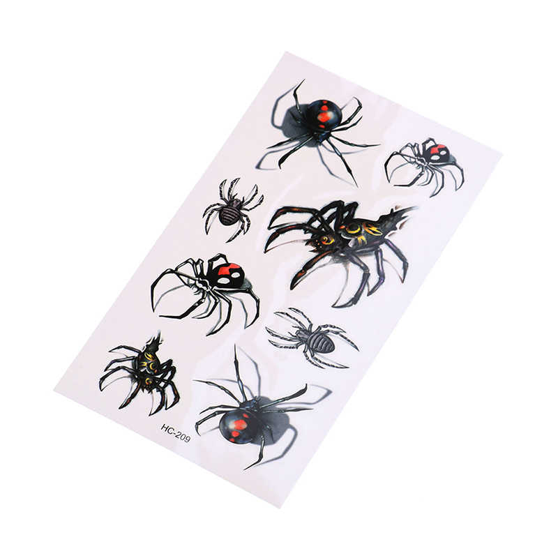 Pegatina de Halloween realista herida en la sangre cicatrices búho araña falso tatuaje pegatina 1 Uds Cool hombre araña impermeable tatuaje temporal