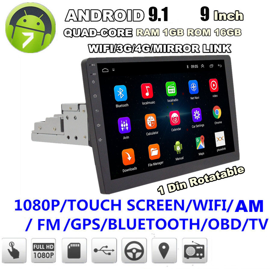 "1DIN Rotatable 10.1/""Android 8.1 Quad-core Car Stereo Radio GPS 1GB16GB Bluetooth"