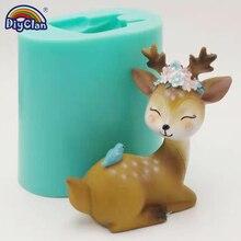 Sika Cervo Stampo In Silicone Per La Torta di Candela Decorazione Fatta A Mano 3D Animale muffa del Cioccolato Figure Del Polimero Del Silicone Forma di Cemento