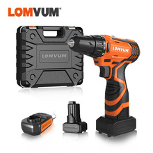 LOMVUM New 12/16/25V Electric Drill Hammer Cordless Drills Lithium-Ion Battery Screw rotary tool Mini Magnetic DRILLING DRIVING