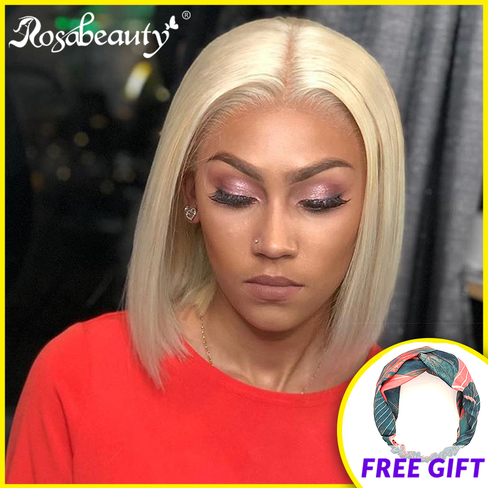 Rosabeauty 613 Ombre Blonde 13x6 Lace Front Human Hair Wigs Brazilian Short Bob Straight Frontal Wigs Pre Plucked Remy Hair 6-16