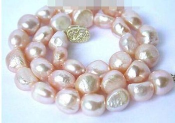 10-11mm Authentic nature Baroque pink freshwater pearl necklace Fine Jewelry gift