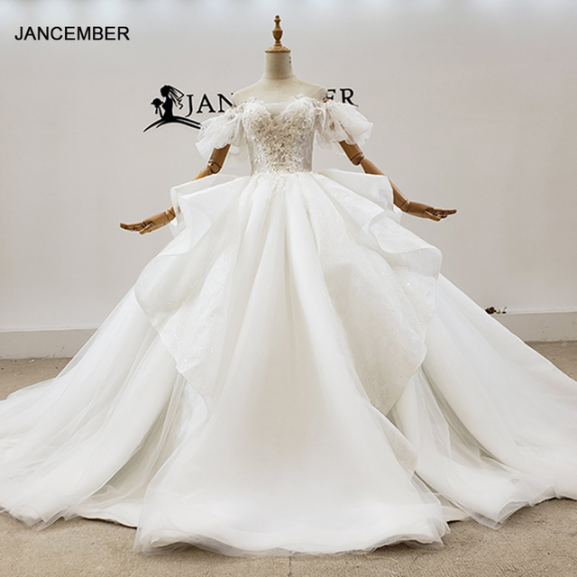HTL1780 Simple White V-Neck With Short Sleeve Pearls Wedding Dress 2020 Ball Gowns Crystal белое платье в пол 1