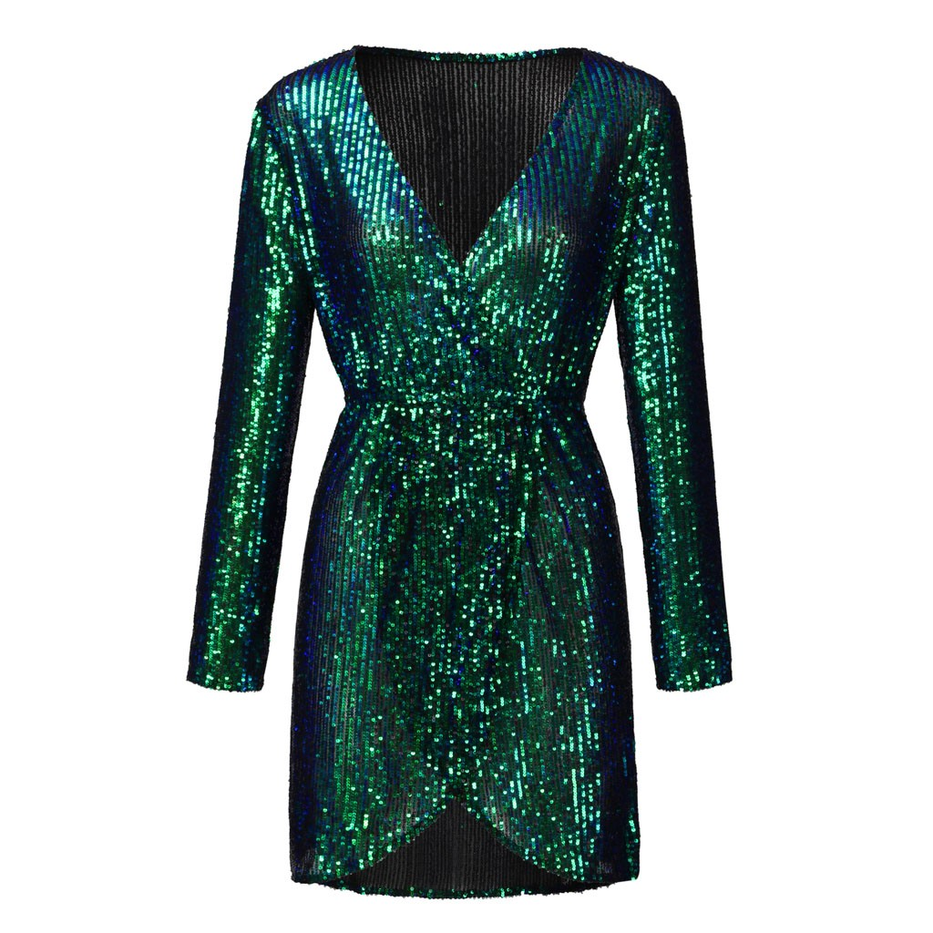Dress Women Sequined V-Neck Long Sleeve Mini Dresses Shining Party Club платье Robe Vestido Kleid Jurk Sukienka Сукня OY40*