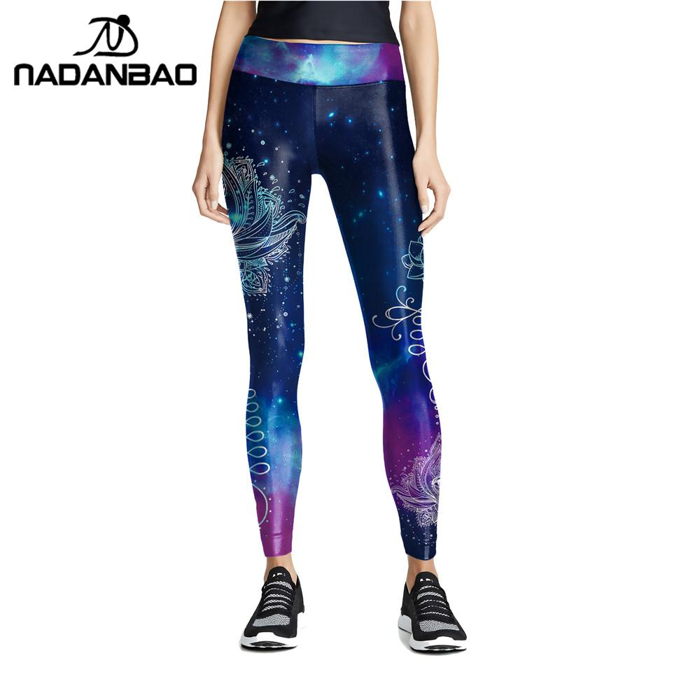 NADANBAO Fashion Women Blue Printing Mandala Leggings Fitness Elastic Pants Workout Stretch Slim Bottoms Aztec Round Ombre Legin