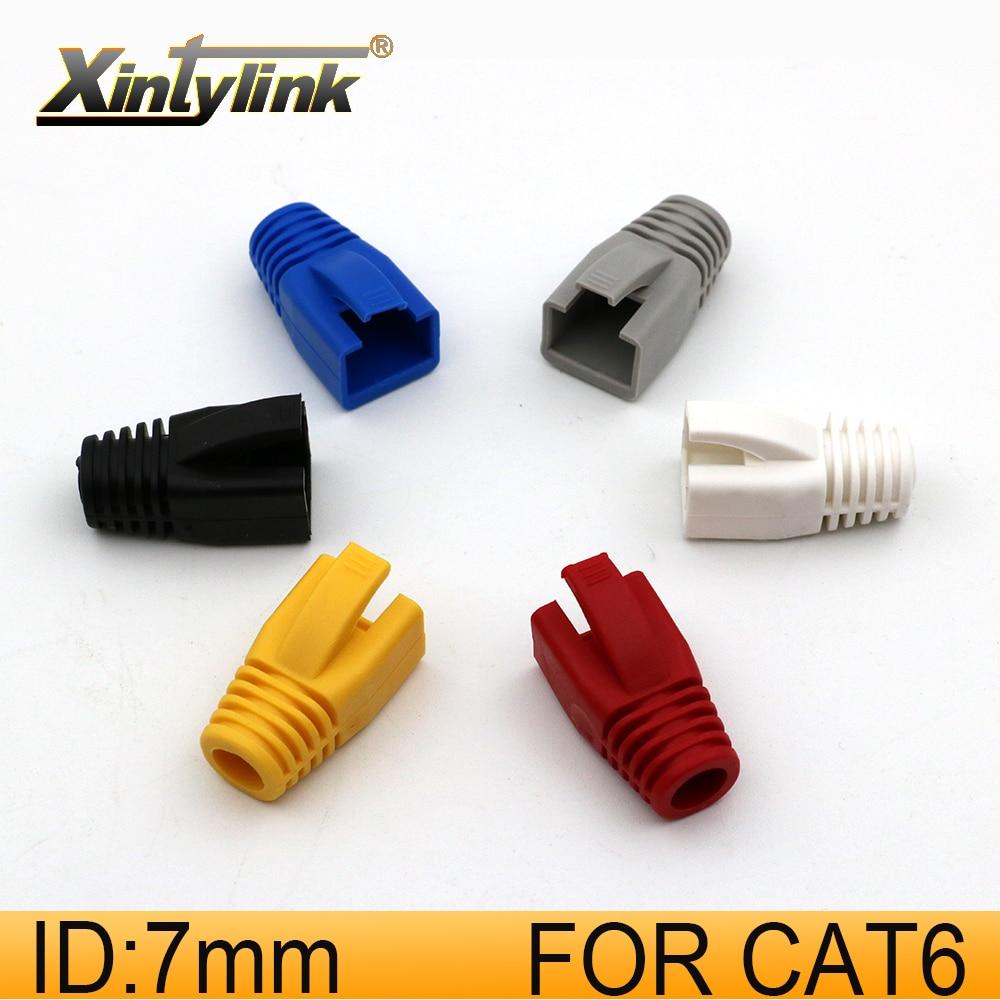 Xintylink rj45 ethernet cabo conector capa caps cat6 cat 6 rede botas rg rj 45 bainha cat5 cat5e cor multicor 100 pçs