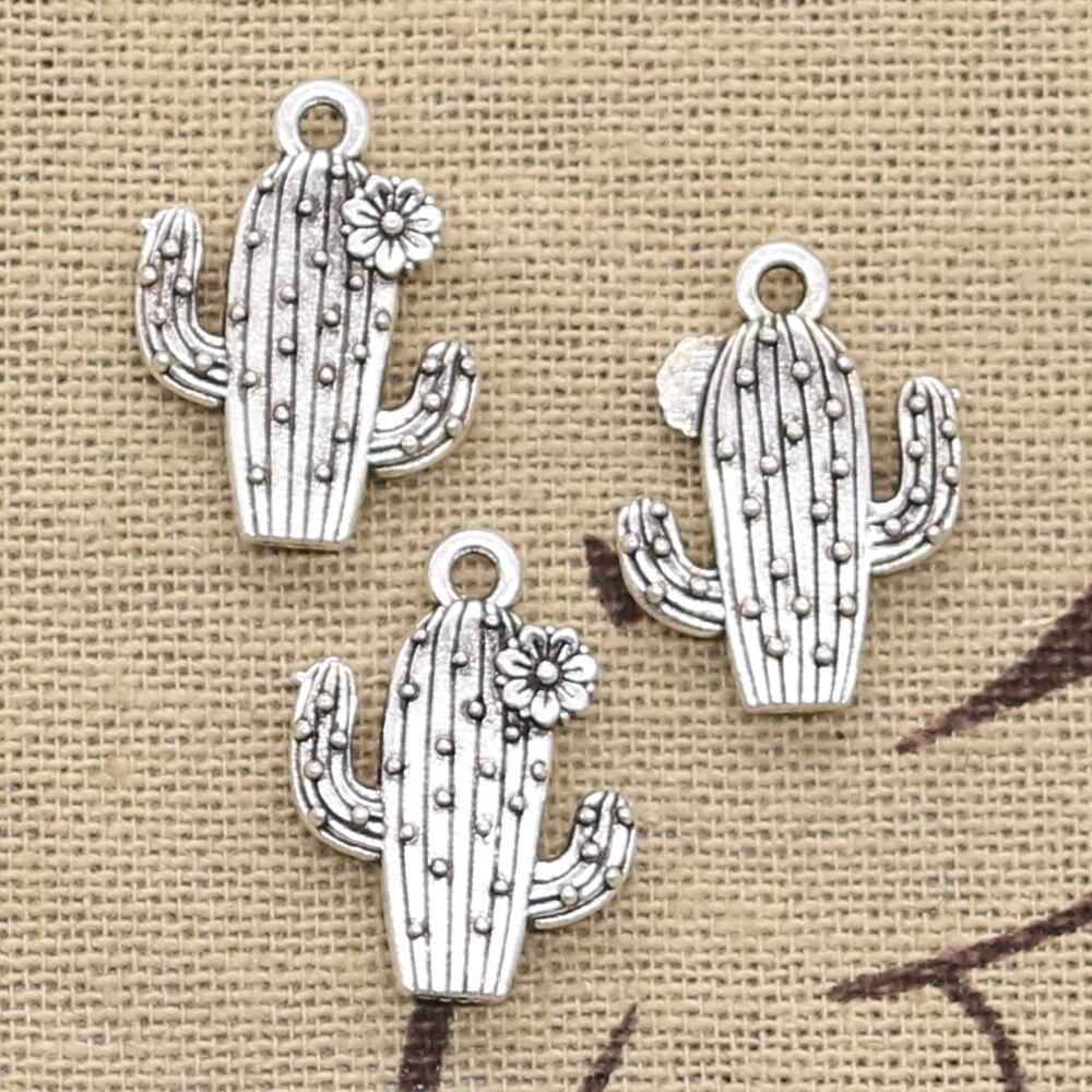Cactus Silver Charms Pendants 20pcs Jewellery Making