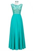 Elegant Emerald Green Evening Gowns Beaded Lace Long Evening Dress Chiffon Sleeveless A Line Formal Party Dress vestidos largos