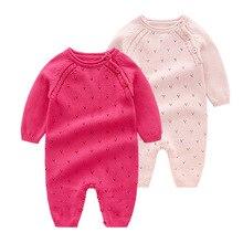 Детские трикотажные Комбинезоны из чистого хлопка; Одежда для малышей; Вязаная Шерстяная Одежда для новорожденных девочек; Осенний комбинезон с длинными рукавами; Трикотажная одежда для детей от 0 до 24 месяцев
