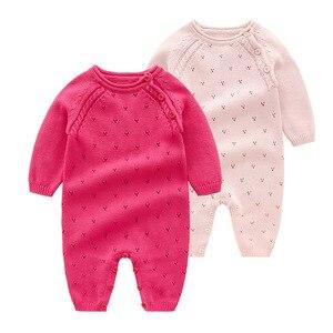 Image 1 - Baby strampler Strick Reiner Baumwolle Babys Kleidung Neugeborenen Baby Mädchen Stricken Wolle langen ärmeln herbst overall Strickwaren 0 24m
