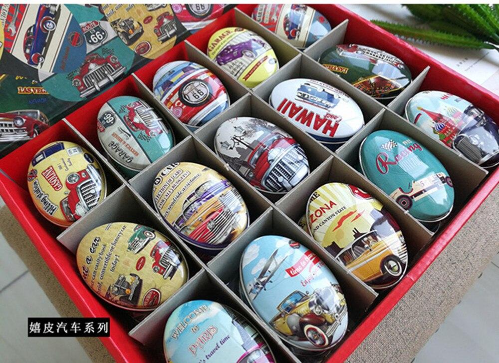 30 pièce/boîte boîte de rangement de forme ovale Vintage voiture impression petite boîte à bonbons à la main boîte à savon Mini boîte à bijoux en étain petite boîte à pilules
