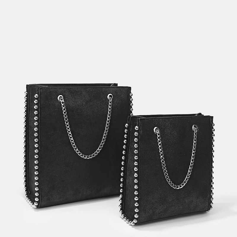 Large Capacity Retro Tote Bag Women Fashion Chain Rivet Shoulder Bags Lady Commuting Pu Leather Purses Bags