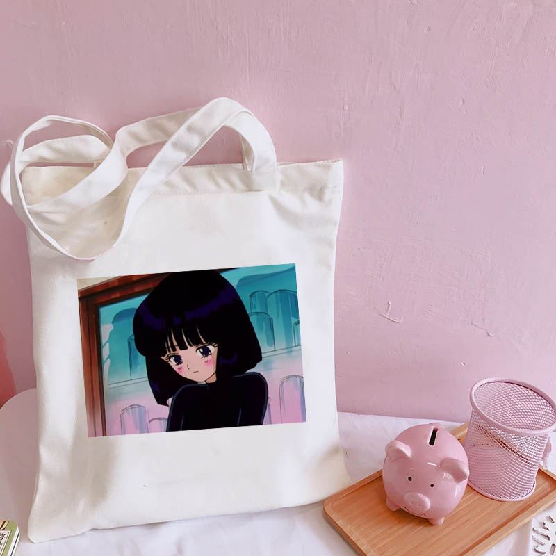 Japanese Sailor Moon Large Capacity Harajuku Casual Ulzzang New Women's College Canvas Bag Summer Chic Cartoon Shoulder Bags