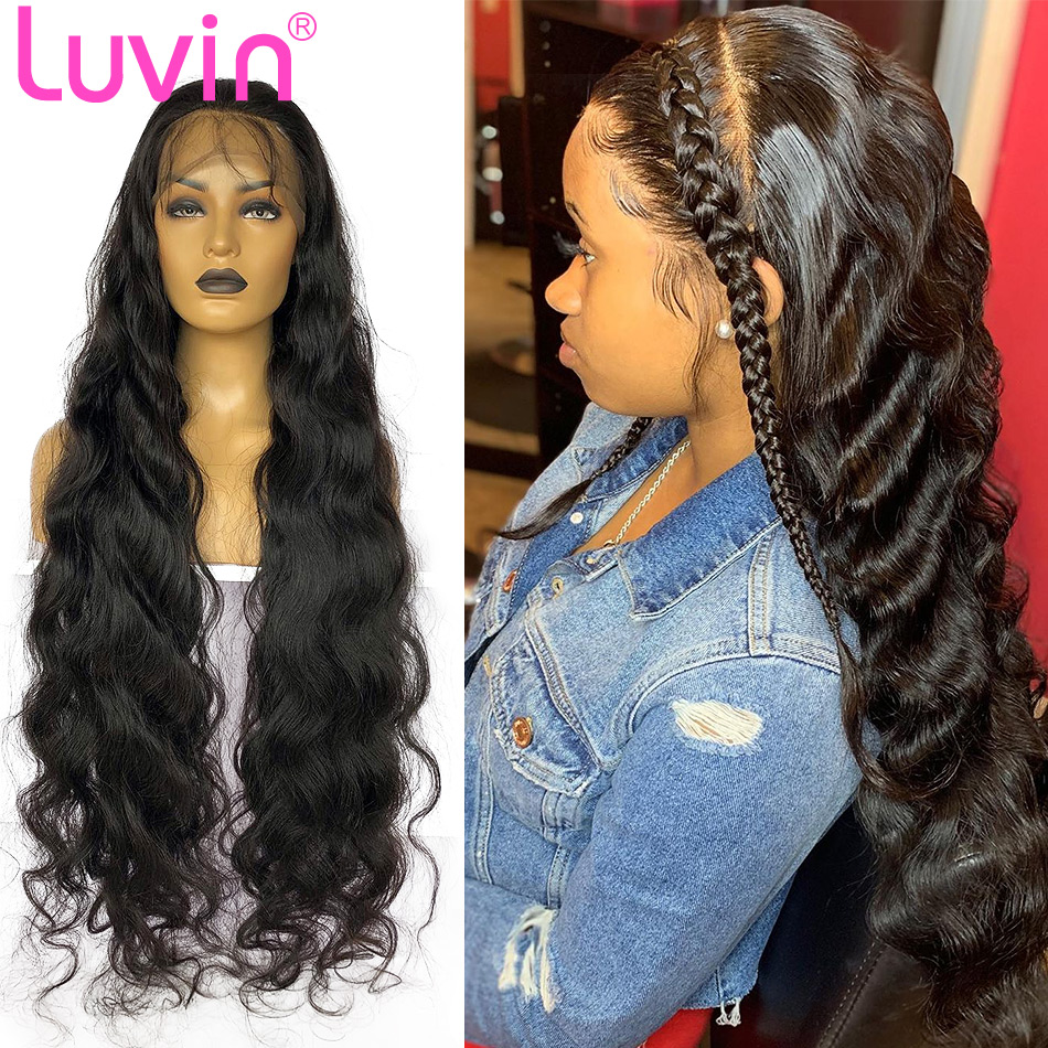 <font><b>Luvin</b></font> Body Wave 13x6 Invisible Fake Scalp Lace Front Human <font><b>Hair</b></font> Wigs 28 30 inch Brazilian Frontal Wig For Black Women image