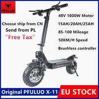 PFULUO-patinete eléctrico inteligente, patinete Kickscooter de X-11, 48V, 1000W, Motor, 50 km/h, neumático sin cámara de 11