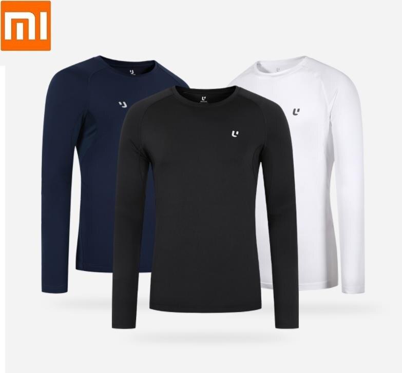 Xiaomi Uleemark Men's Sports Round Neck Long Sleeve T-Shirt Slim Fit Warm Bottoming Sweatshirt High-elastic Reflective Printing