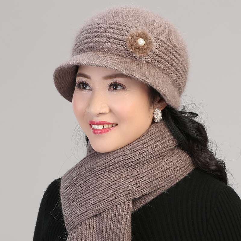 Winter Middle-aged Hat Women's Rabbit Fur Knitted Wool Cap Brushed And Thick Grandma Old Man Hat Middle-aged Mom Cap