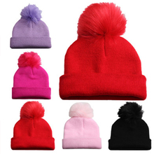 Knitted Solid Baby Winter Hat For Kids Pompon Handmade Beanies Double Side Bonnet Warm Hats Cute Caps 2019  Hot Sale