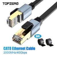 Cat8 Ethernet plano Cable de alta velocidad SSTP 40Gbps Compatible con Cable de parche RJ45 Lan Cat 8 para Router de red de Cable de PC Ethernet negro