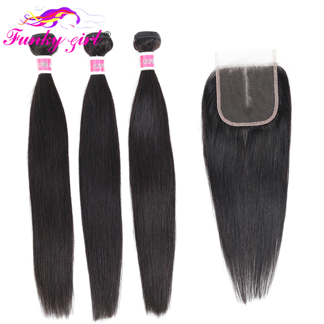 Funky Girl Brazilian Hair Weave 3 Bundles With Lace Closure Free Part Straight Human Hair Bundles With Closure Non remy Hair
