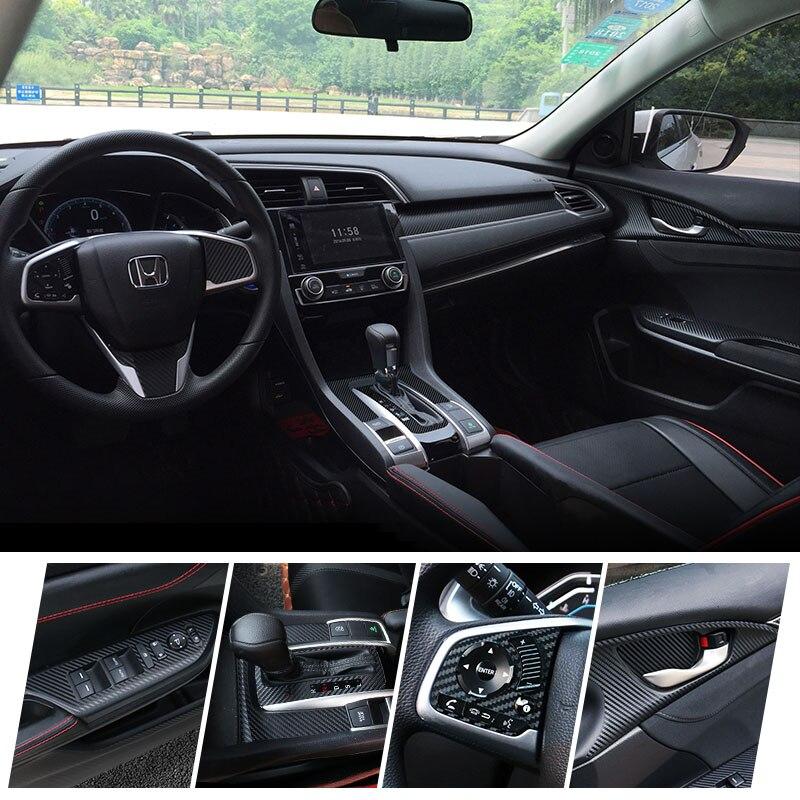 Pegatina de decoración Interior de coche, Panel de engranaje, volante, pegatina de ajuste de estilo de fibra de carbono para Honda Civic 2016 2017 2018 2019