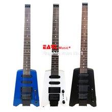 High-end sem cabeça guitarra elétrica, metal azul, preto, tinta branca, maple neck, portátil de viagem guitarra, instrumento musical, posta