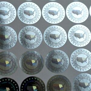 Image 3 - 米国のアメリカホログラムステッカー 20 ミリメートルゴールドシルバー新デザインホログラフィステッカー無効後除去