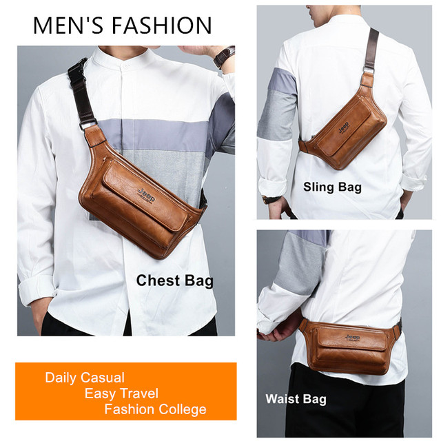 sacoche de ceinture JEEP BULUO – sac à bandoulière en cuir pour téléphone, sacoche de ceinture fonctionnelle pour argent, pochette de poitrine, sac de hanche unisexe 6
