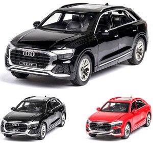 Image 1 - 1:24 audi Q8 SUV pojazd terenowy model wysokiej symulacji aluminiowy model samochodu z dźwiękiem światła wycofać dziecięca zabawka samochód darmowa wysyłka